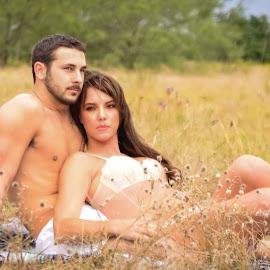 Love in the Field by Michele Dan - Nudes & Boudoir Boudoir ( love, outdoor boudoir, couples photography, couple, couples boudoir, couple in love, couples )