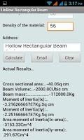 Screenshot of Hollow Rectangular Beam Calc