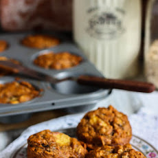 Whole Wheat Banana Peach Muffins