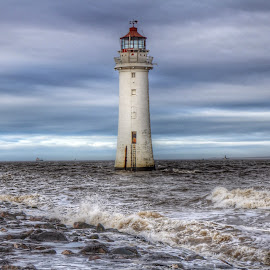 New Brighton Lighthouse by Sean Astbury - Buildings & Architecture Public & Historical ( water, structure, sky, waves, lighthouse, sea, light, coast, britian )