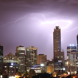 Perth Electric Storm by Graeme Fairley - City,  Street & Park  Skylines ( lightning, perth, electric, night, storm )