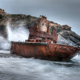 Wounded Heart by Julio Santos - Transportation Boats ( destroyed, alentejo, sea, beach, boat, portugal )