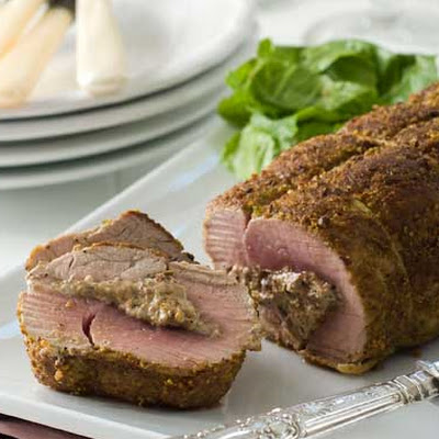Gluten Free Pistachio Cranberry Goat Cheese Stuffed Pork Tenderloin