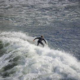 Riding the Waves, Pacific Beach, CA by Ed Shanahan - Sports & Fitness Surfing ( pacific beach, surfer, waves, wet suit, man vs. nature )