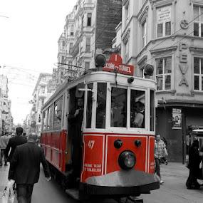 by Bica Razvan - City,  Street & Park  Street Scenes ( selective color, pwc,  )