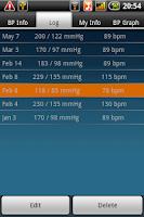 Screenshot of Blood Pressure Tab