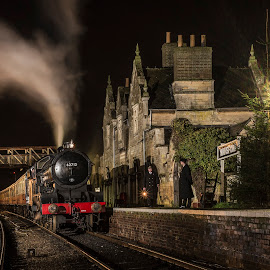 Train at Station by Steve Dormer - Transportation Trains ( night photography, station, steam train, train, steam )