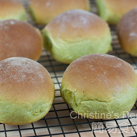 Japanese Green Tea Bread with Red Bean Fillings