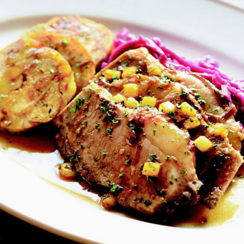 Beef Sauerbraten with Red Cabbage and Pretzel Dumplings