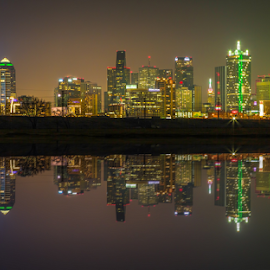 Reflecting on Dallas by Andy Taber - City,  Street & Park  Skylines (  )