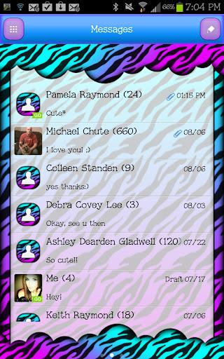 GO SMS - Candy Zebra Sky 2