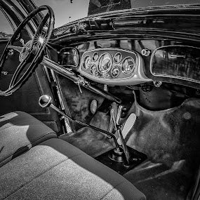 Pierce Arrow Interior by Ron Meyers - Black & White Objects & Still Life