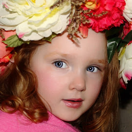 Surprise of Flowers by Cheryl Korotky - Babies & Children Child Portraits