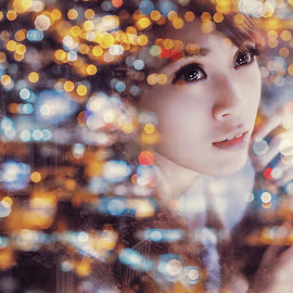 Coeurs by Leslie Tan - Digital Art People ( girl, neon, night,  )