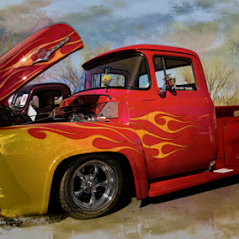 Classic Truck with Yellow Flames by Michael Moriarty - Digital Art Things ( flames, red, truck, digital art, f-100, yellow, clasic, ford, antique )