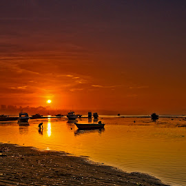 Sunrise by the Beach - Sanur , Bali. by John Chung - Transportation Boats