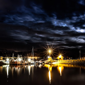 Boatharbour at night by Benny Høynes - Transportation Boats ( lights, bay, harbour, boats, lake, skies, norway, nightscape )