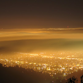 Berkeley under a Marine Layer by Jason Henderson - City,  Street & Park  Vistas ( marine layer, night, glowing, berkeley, city )