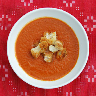 Brown Sugar-Roasted Tomato Soup with Cheddar Croutons