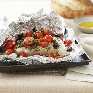 Sea Bass Puttanesca in a Foil Pouch