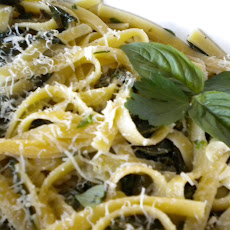 Pasta with Green Herbs, Greens and Garlic from My Garden