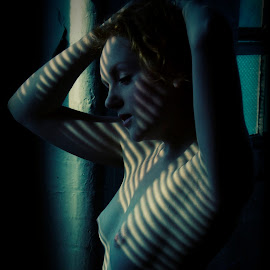 Ivory Flame in blue by Mark Wood - Nudes & Boudoir Artistic Nude ( venetian blind, model, art nude, nude, blue, factory, redhead, warehouse, ivory flame, vertical lines, pwc )
