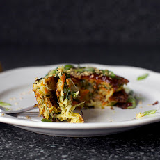 Japanese Vegetable Pancakes [Okonomiyaki] with Cabbage, Kale and Carrots