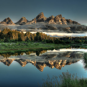 Hazy Reflections by Ryan Smith - Landscapes Mountains & Hills ( greand teton national park, schwabachers landing, reflections, tetons,  )