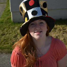 Cat in the Hat by Selah Madland - People Portraits of Women ( hats, laughing, silly, fun, hat )