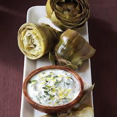 Steamed Artichokes with Lemon Herb Sauce
