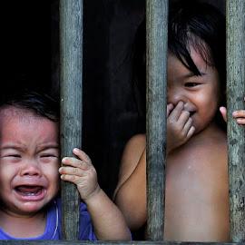 CRY &  LAUGH by Chev M - Babies & Children Children Candids ( laughing, window, candids, children, crying )