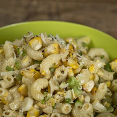 Grilled Corn Pesto Macaroni Salad