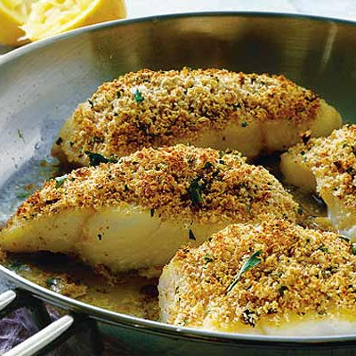 Lemon, herb & Parmesan crusted fish