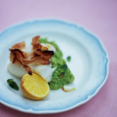 Grilled Cod With Pancetta & Pea Mash