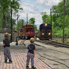 The Train by David Lawrence - Transportation Trains ( old train museum noblesville, caboose, engine, train, tracks, kids, twins, anticipation )