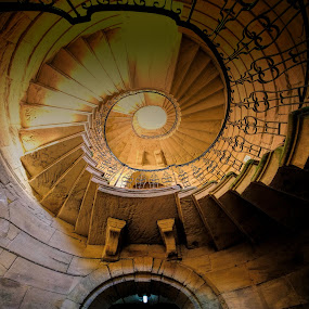 Escape from the Dungeon by Phil Robson - Buildings & Architecture Architectural Detail ( delaval hall, spiral staircase, northumberland, dungeon, national trust )