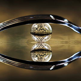 by Dipali S - Artistic Objects Cups, Plates & Utensils ( reflection, fork, numbers, artistic, sphere, refraction )