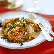 Sesame Seed Crusted Shrimp with Sesame Noodles