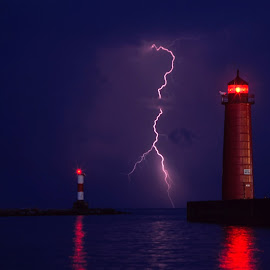 Kenosha North Pier Light by Norm Dunlap - Buildings & Architecture Other Exteriors ( lightning - lighthouse - kenosha - storm - lake michigan )