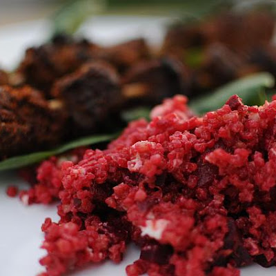 Beet Bulgar Wheat Salad with Tropical Fruits