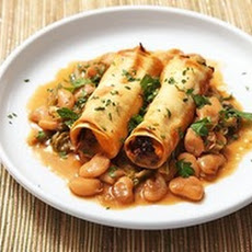 Sweet Potato and Mushroom Cannelloni with Braised Escarole and Butter Beans (Vegan)