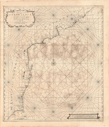 [Coromandel Coast].  Nieuwe afteekening van de Kust van Coromandel en een gedeelte van de Kust van Golgonda.  Amsterdam, 1753.  Copper engraving, 629 x 540 mm.  A highly detailed sea chart featuring the Coromandel Coast, from the 'Secret Atlas' of the Dutch East India Company.  This fine chart depicts the Coromandel Coast and was included in the 'Secret Atlas' of the Dutch East India Company (VOC). It extends from 'Goetepatnam' (Gopalapattinam), along the Palk Strait, in the south all the way up north to the Andhra Coast beyond 'Vizagapatnam' (Visakhapatnam).