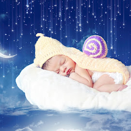 Dream Cloud by Darya Enchanted Images - Digital Art People ( clouds, moon, stars, baby, newborn )