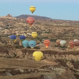 Hot air balloons of Cappadocia, Turkey by Sheryl Biesman - Travel Locations Air Travel ( turkey, balloons, cappadocia )