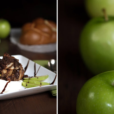 Apple & Dark Chocolate Bread Pudding