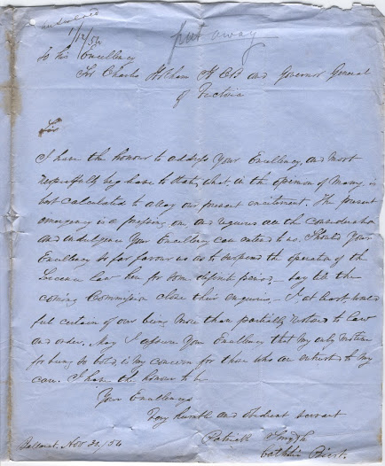 "Father Patrick Smyth to Lieutenant Governor Charles Hotham, dated 30 November 1854, petitioning for a temporary suspension of the licence in view of the 'present emergency'.<a href=""http://wiki.prov.vic.gov.au/index.php/Eureka_Stockade:Hothams_reply_to_Patrick_Smyth%27s_letter"">Click here to see more of this record on our wiki</a>   The official response, while polite, is firm on the maintenance of the law, an attitude characteristic of Hotham."