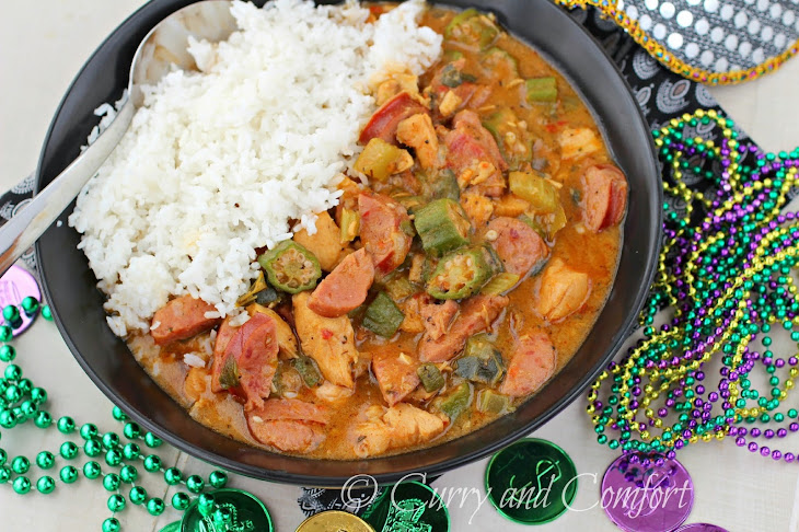 spicy chicken and sausage gumbo from curry and comfort 25