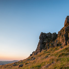 Kettleshulme CP by Mark Richard Day - Landscapes Mountains & Hills ( sun set, blue sky, windgather rocks, red sky, red glow, landscape, kettleshulme cp, rocks, peak district, golden hour )