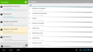 Screenshot of Grocery list - Greenlist