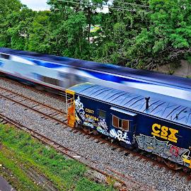 Amtrak 48 Lakeshore Limited by Brooks Travis - Transportation Trains ( csx caboose, ge locomotive, blue caboose, amtrak, passenger train, lakeshore limited )